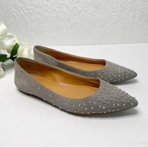 J Crew Amelia Suede Studded Pointed Toe Flats 7.5